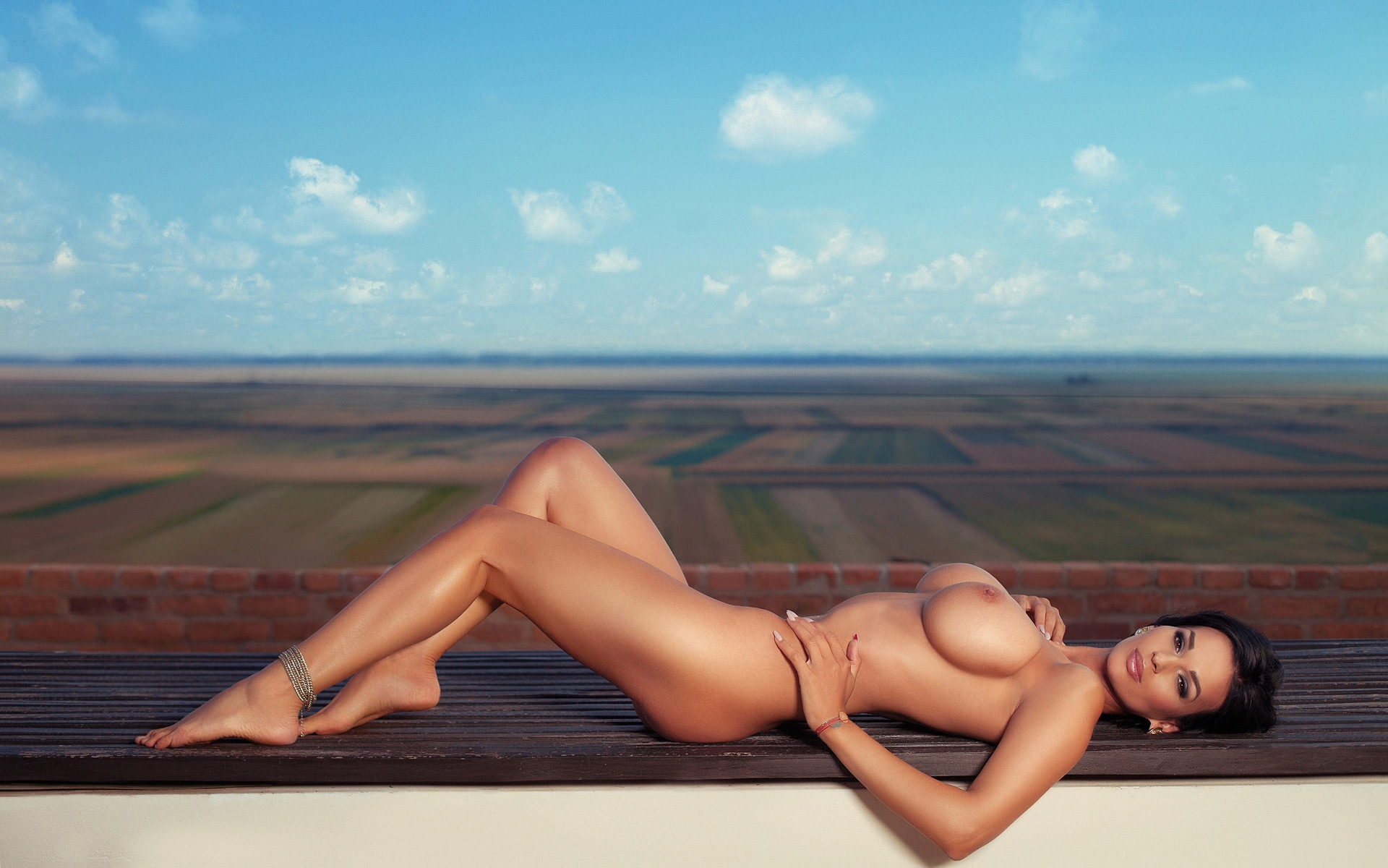 adina barbu busty romanian playmate nude on a balcony outdoors erotic