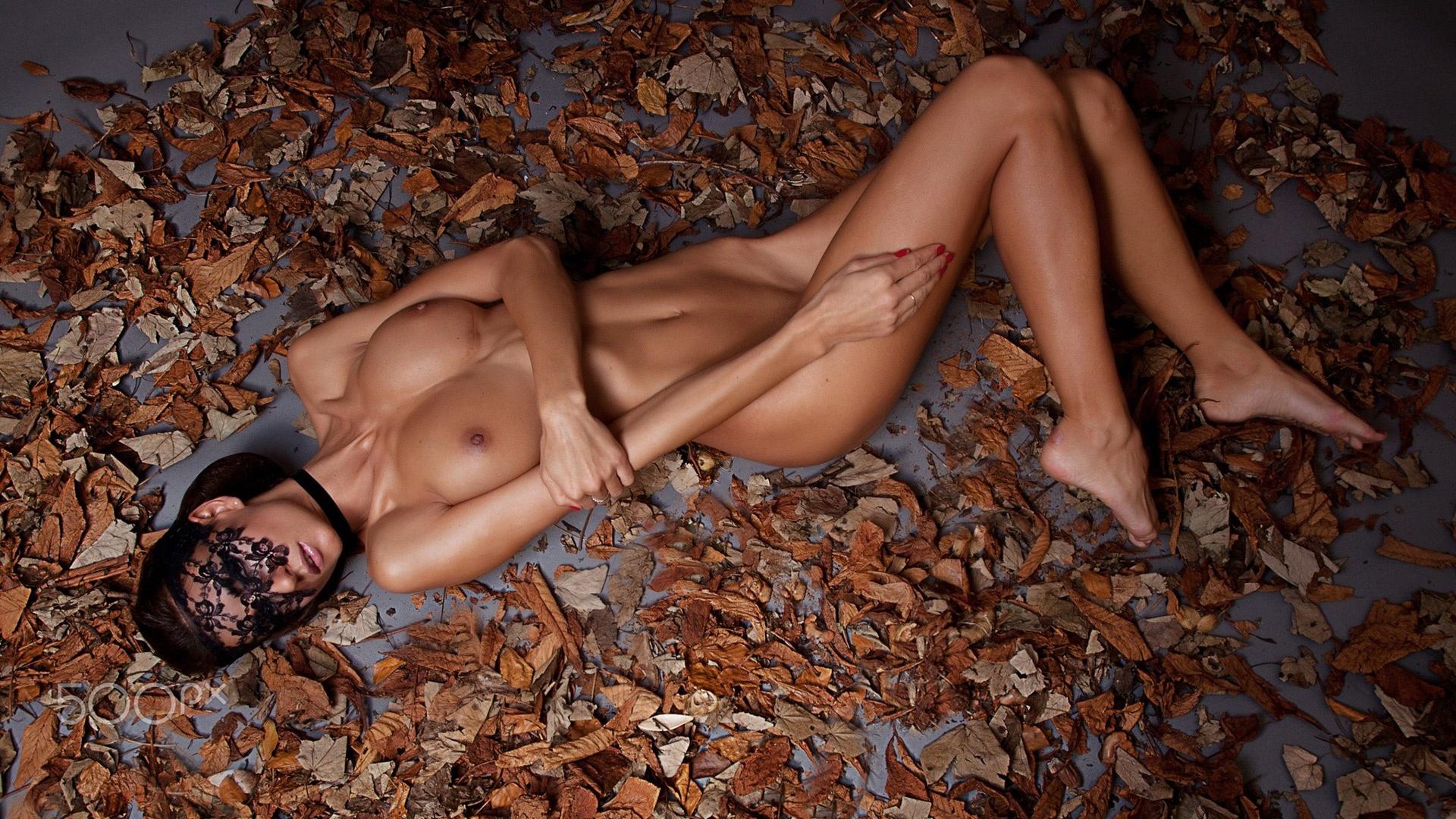 Angel Dark nude skinny brunette pornstar on the floor ...