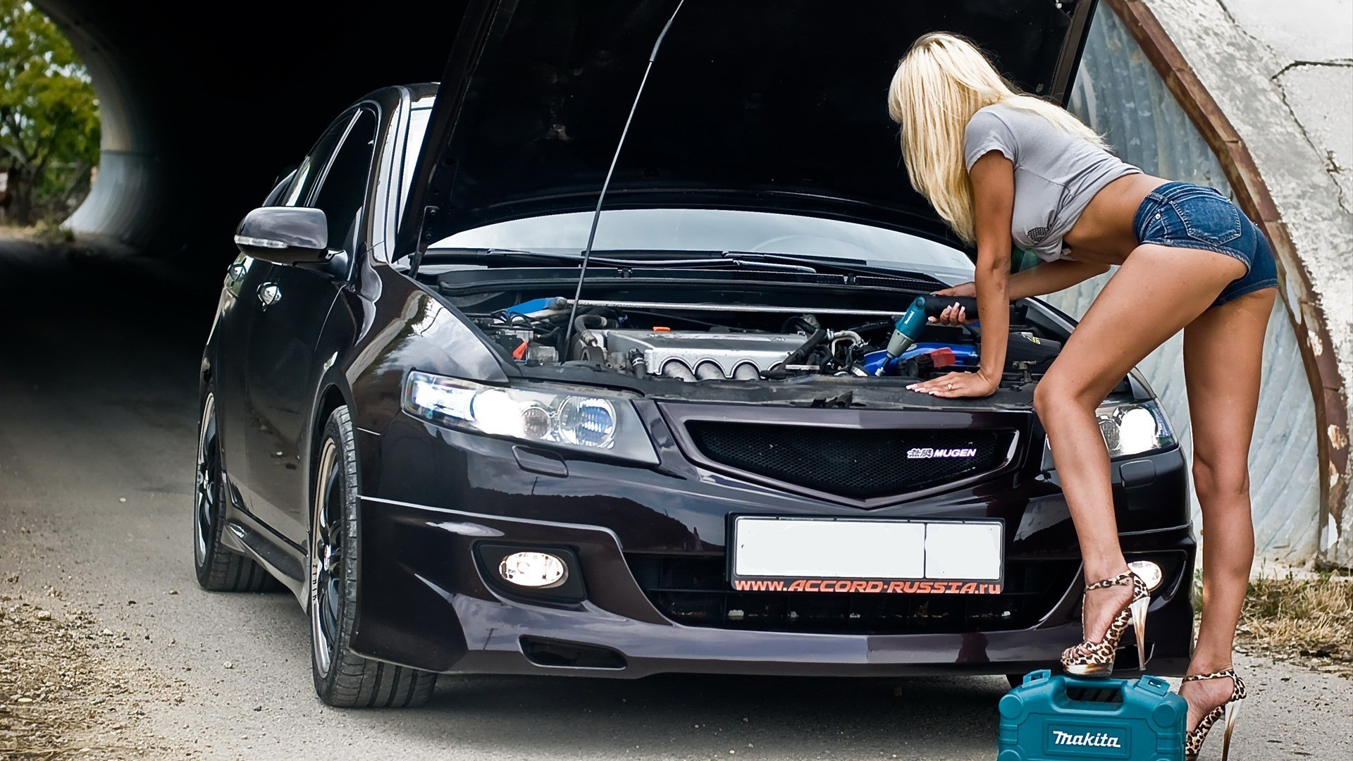 Girl Mechanic Nude the hottest mechanic has sexy long legs and huge boobs hd