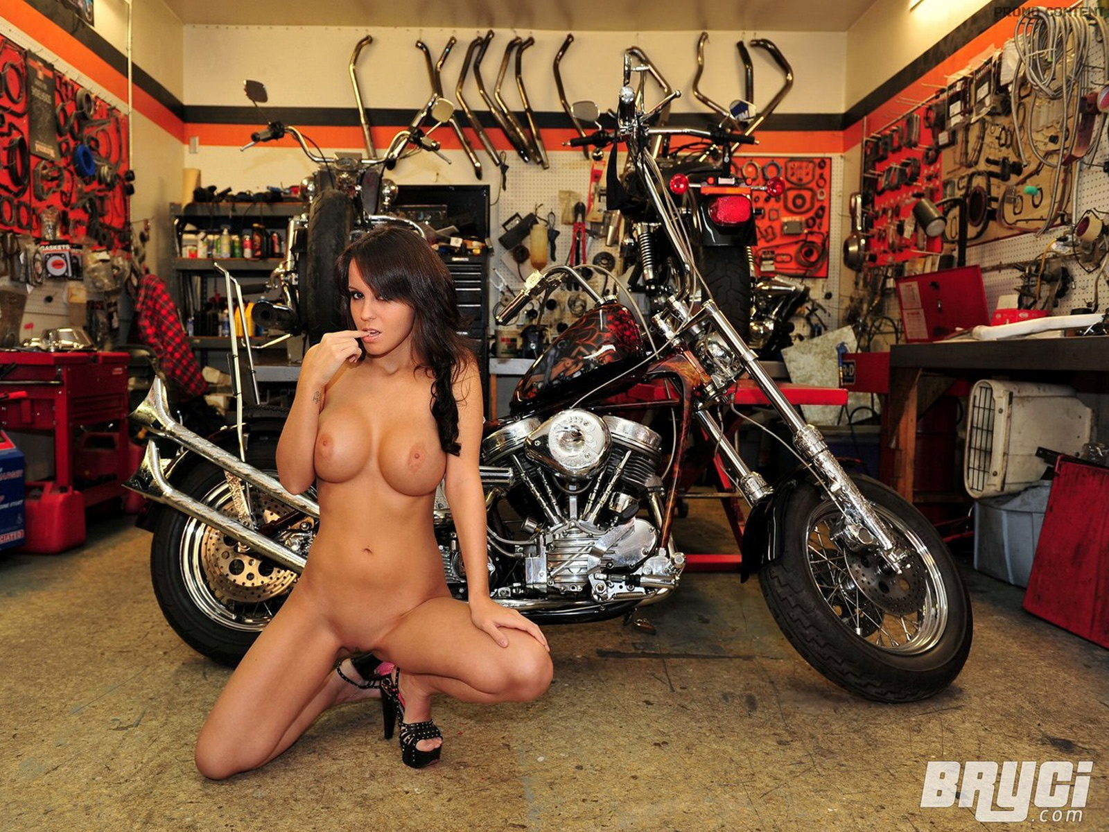 naked bryci and custom motorcycle sexy photo at the bike