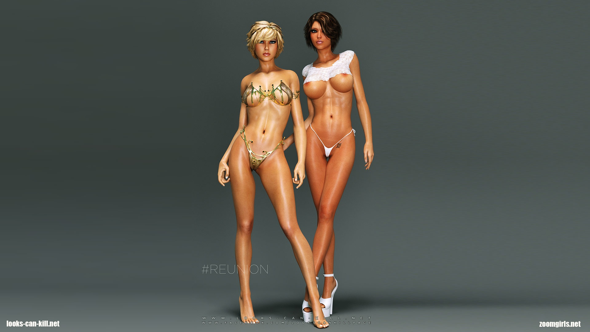 3D Cgi Sex hot cgi 3d babes with huge tits showing her perfect rendered