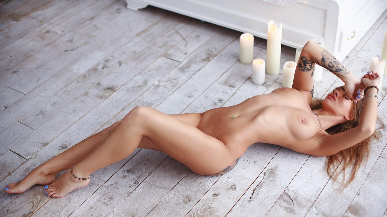 Naked girl spread for cock