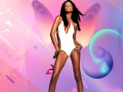 Adriana Lima white swimsuit and sexy tanned legs wallpapers
