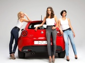 Alfa Romeo Mito girls wallpaper, cars and babes wallpaper, sexy italian model, hot beauties in jeans photo