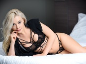 Amber Karis Bassick blonde beauty in sexy black lingerie