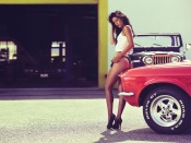 American Muscle and Beauty, hot legs, sexy model, long legs, girls and cars, bikini, panties, thong, high heels, mustang, jeep