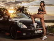 Anastasia Manova, Lexus SC 450, hot ass babe, sexy model, thong, bikini, girls and cars, babes and cars, blonde, russia