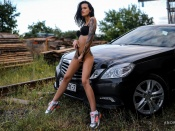 Anastasia Maslovskaya hot tattooed brunette and Mercedes E klasse