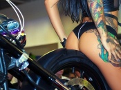 Angelica Anderson, fit model, brunette, hot ass, tattoo, girls and bikes, motorcycle, sexy back