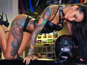 Angelica Anderson hot tattooed woman on the roof of a car