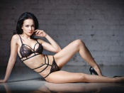 Angelina Petrova in sexy black lace lingerie