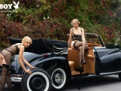 anna heyse, lisa heyse, sexy sisters, germany, retro car, girls and cars, playmates, playboy, lingerie, topless, hotties, blondes