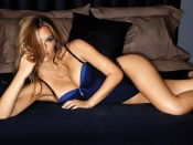 Bar Refaeli hot blue and black lingerie photo session wallpaper