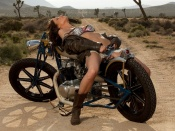 Beth Williams hot erotica on a custom bike