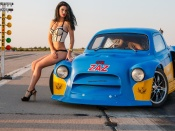 Bikini model and dragster, lingerie, girls and cars, sexy model, beauty, brunette, hot model, babes and cars, dragster, babe