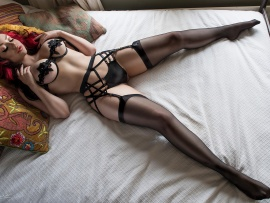 Black lingerie and red lips (click to view)