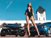 BMW 3 Series and hot woman