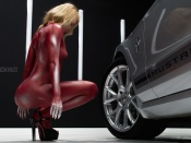 Bodypaint nude blonde model tight ass and Mustang Car