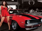 Camaro SS and hottie, kn filters calendar photo, babes and cars, red dress, brunette model, sexy legs, sport cars, muscle cars and girls