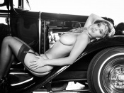 Carlye Denise, retro style photo, babes and cars, classic cars, sexy model, lingerie beauty, nude photo, blonde beauty