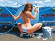 Carwash topless beauty pinup