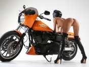 Clover, butt naked, round ass, teen model, harley davidson, babes and bikes, nude, naked, model, princess clover wallpaper