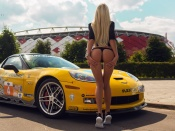 Corvette and blonde in thong bikini