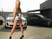 Courtney Walker, babes and cars, miniskirt, mitsubishi evo, bentley continental, sport cars, hot model