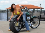 Custom Chopper and hot woman wallpaper