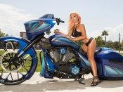 Dalie Mariette, hot ass, bikini, model, girl and bike, custom, chopper, huge bike, motorcycle