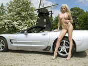 Danielle Maye, babes and cars, hot blonde, big tits, fake tits, shaved pussy, sport cars, chevrolet corvette, pornstar