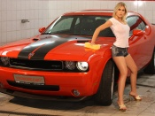 Dodge Challenger and hot girl wallpaper