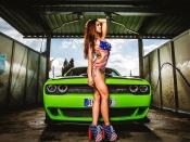 dodge challenger, hot babe, sexy model, blonde, round ass, girls and cars, american muscle car, sport, carwash