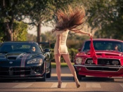 Drag Race Babe, tight dress, sexy legs, hottie, dodge viper, ford mustang, babes and cars, girls and cars, sexy back