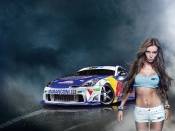 Drift cars babe, babes and cars, hot model, panties, beauty, sexy girl, nissan z, tuning sport