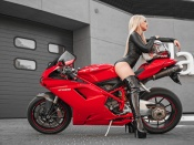 Ducati 1098 and hot chick in black latex suit