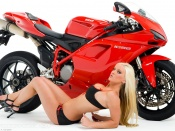 Ducati 1098 superbike and sexy babe in lingerie wallpaper