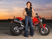 Ducati Monster Austin and hot babe wallpaper