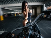 Dulce Soltero hot bikini model and motorcycle