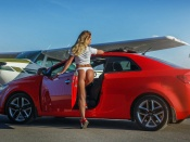 Ekaterina Starostina, sexy model, hot ass, vw jetta, girls and cars, plane, thong, blonde, sexy russian babe, panties