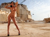 Ella Mai nude in a rock quarry erotic desktop wallpaper