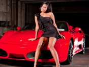 Ferrari and hot babe, babes and cars, brunette, sport cars, luxury, girls, hotties, machines, automobiles, italy