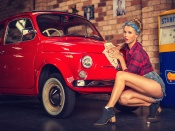 Fiat Cinquecento vintage and hot blonde beauty