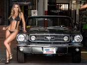 Ford Mustang convertible and stunning bikini blonde babe in garage shop sexy hd wallpaper