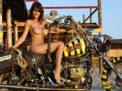 Freerider Bike and Nude Girl, babes and bikes, motorcycle girls, naked, brunette, hottie, free spirit, rides, motorcycle