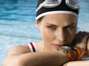 Hana Nitsche sexy portrait sport and swimming equipment campaign ad
