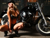 Hayley-Marie Coppin, Biker Babe, babes and bikes, blonde babe, beauty, busty girl, sexy woman, leather, boots