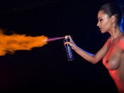 Helga Lovekaty, topless, fire, spray, nude, hottie, teen girl, young, model, erotic, glamour. brunette