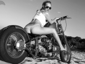 Hot Ass on a blonde babe model and Custom Bike wallpaper