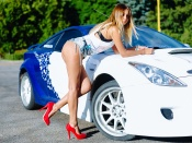 Hot ass model and Toyota Celica